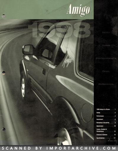 1998 Isuzu Brochure Cover