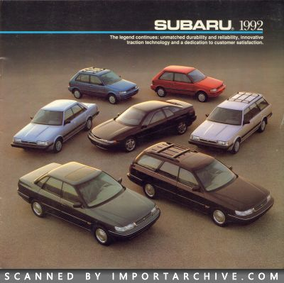 1992 Subaru Brochure Cover