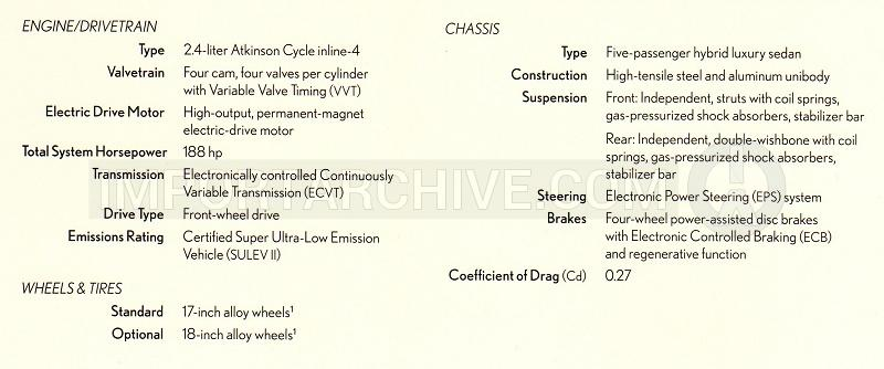 2010 Lexus hs specification brochure page