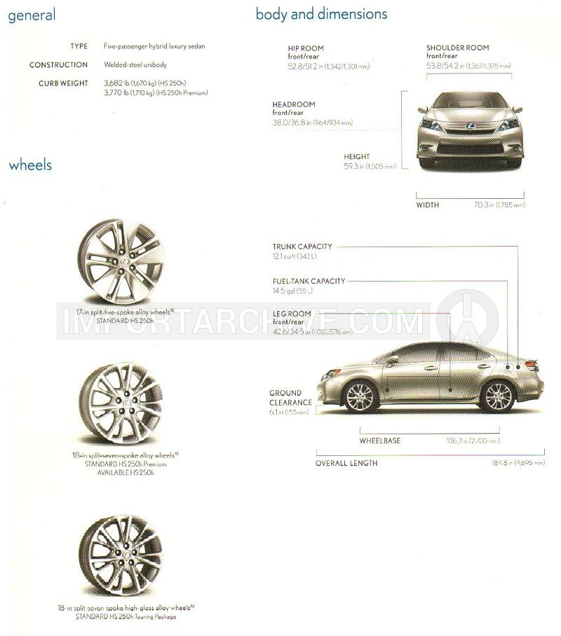 2011 Lexus hs specification brochure page