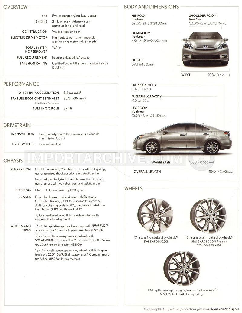2012 Lexus hs specification brochure page