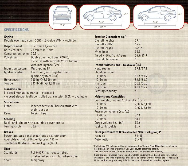 2001 Toyota echo specification brochure page