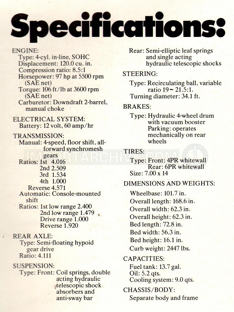 Importarchive toyota truck 19721978 specifications pages 1973 specifications sciox Choice Image